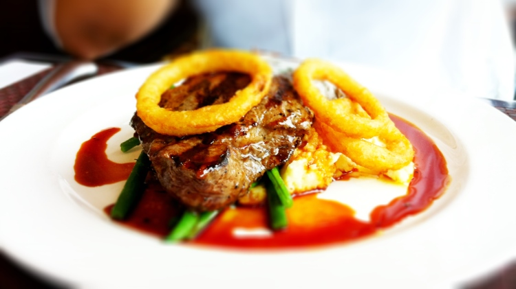 Grilled Canadian AAA Strip Loin Steak and Onion Rings